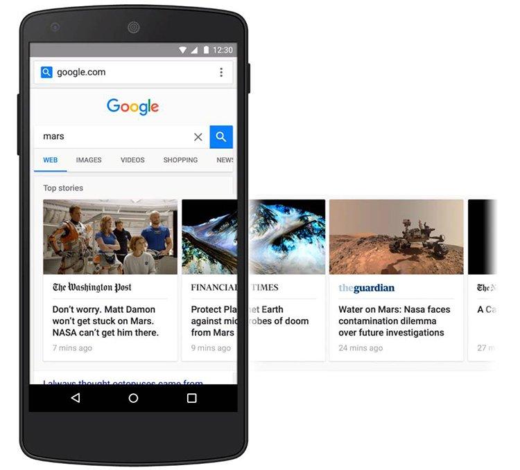 AMP oldalak a Google találati listában