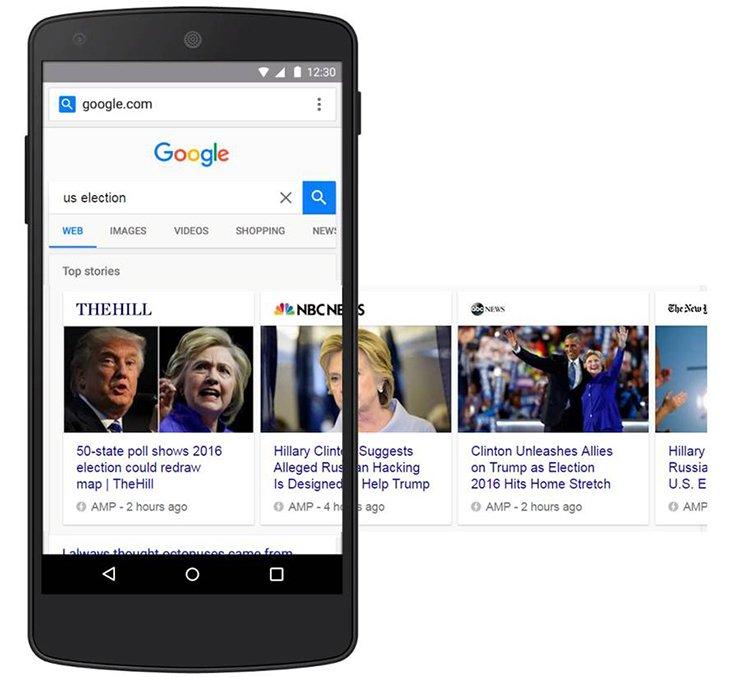 Google AMP carousel lapozó a SERP-ben