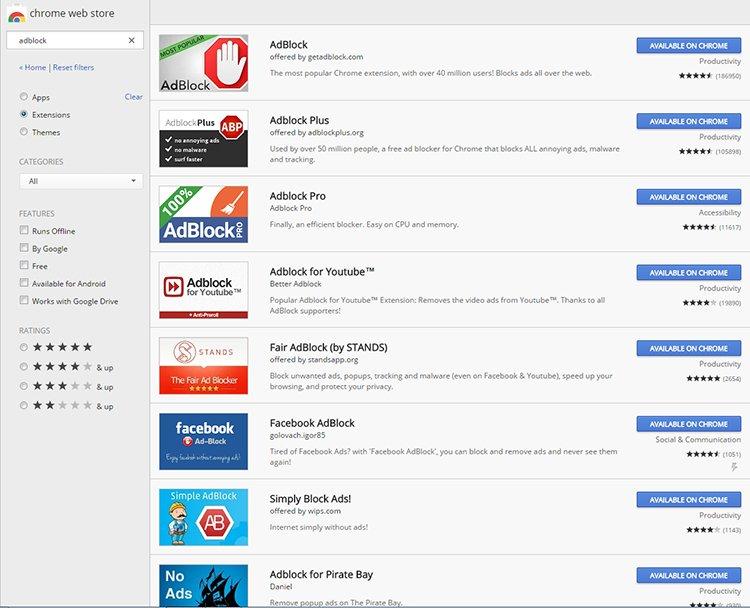 Google Chrome-os hirdetésblokkolók