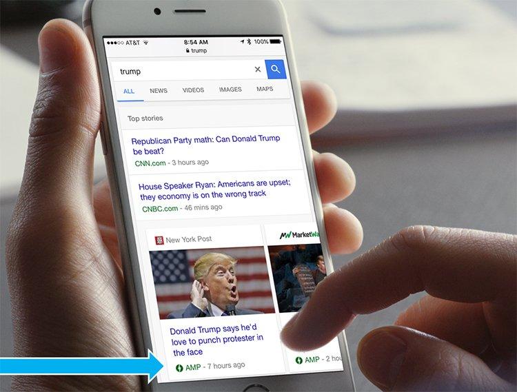 Google SERP mobilon, AMP találatok